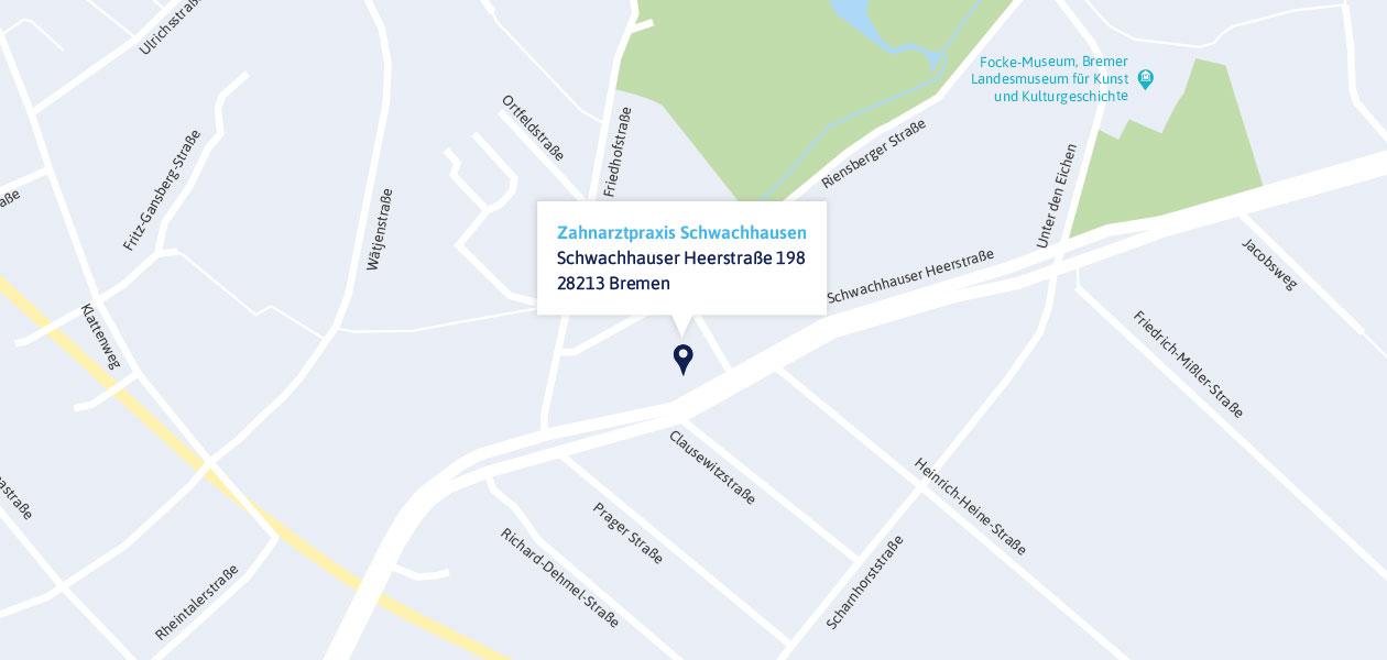 Anfahrt zur Zahnarztpraxis in Schwachhausen